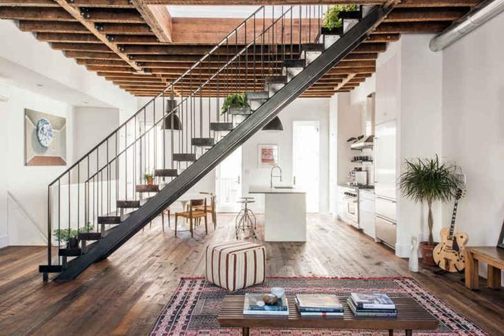 简洁工业风 复式楼梯效果图