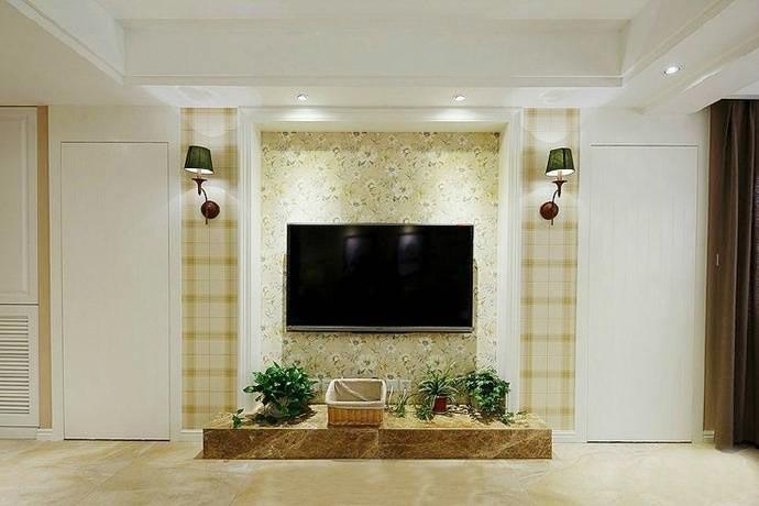纯色电视背景墙设计布置图