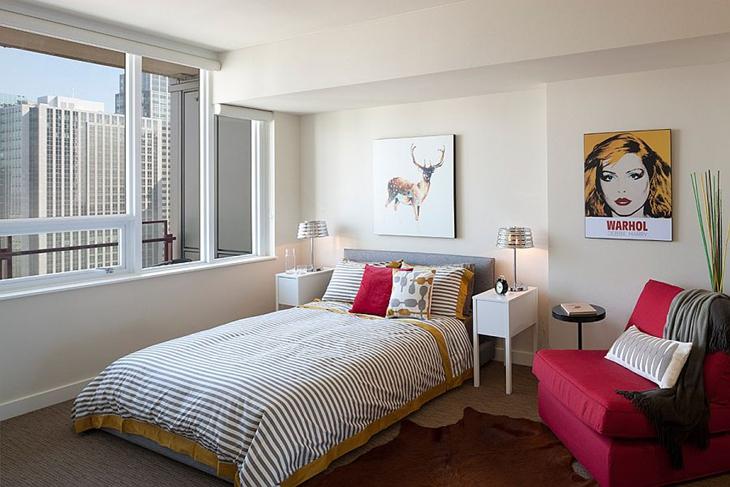 动感后现代风卧室背景墙装修图