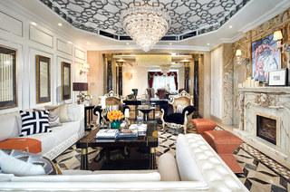奢华中世纪欧式 客厅多边形吊顶效果图