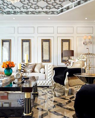 280平欧式古典样板房客厅地板图片