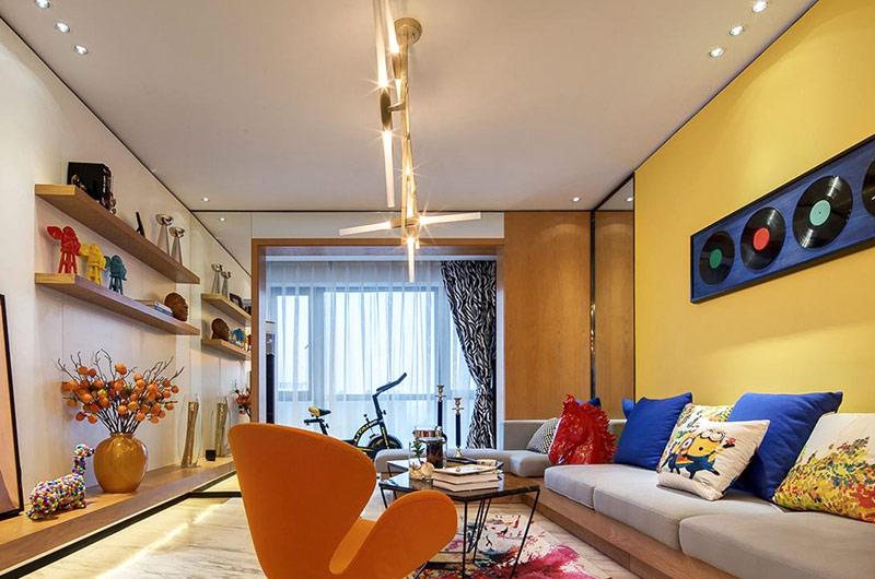 亮彩混搭风公寓客厅装饰大全
