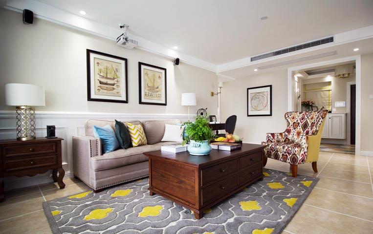 乡村美式客厅沙发效果图