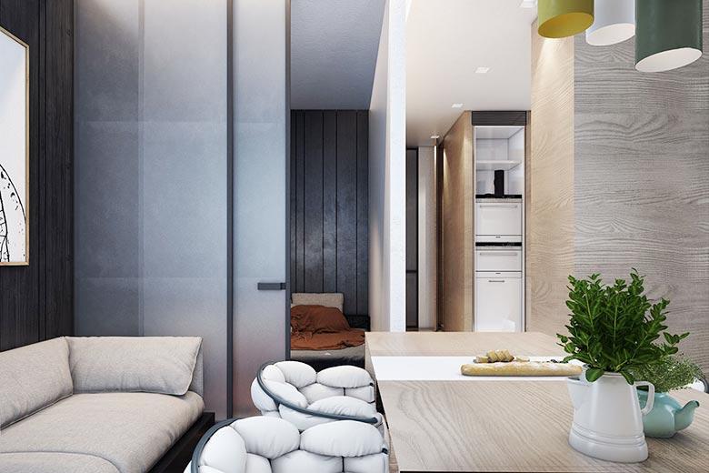 50㎡现代单身公寓客厅图片