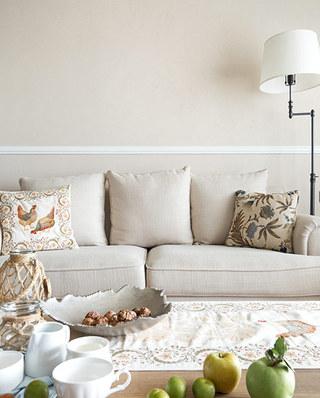 124平现代美式公寓客厅布艺沙发图