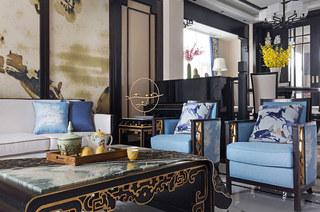 新中式风格别墅客厅沙发图片