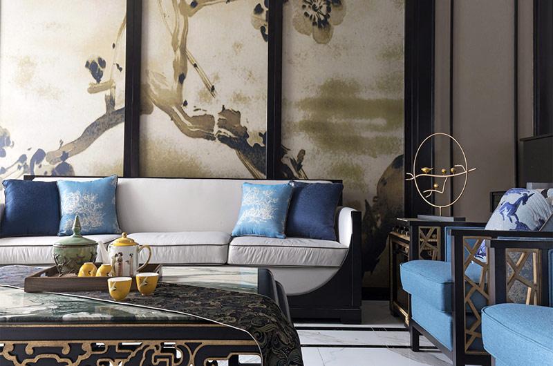 新中式风格别墅沙发背景墙设计