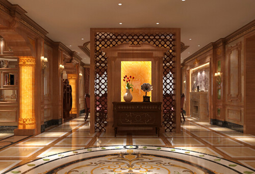 入户门可以设计成印花玻璃欧式屏风,这样能体现出装修时尚潮流感