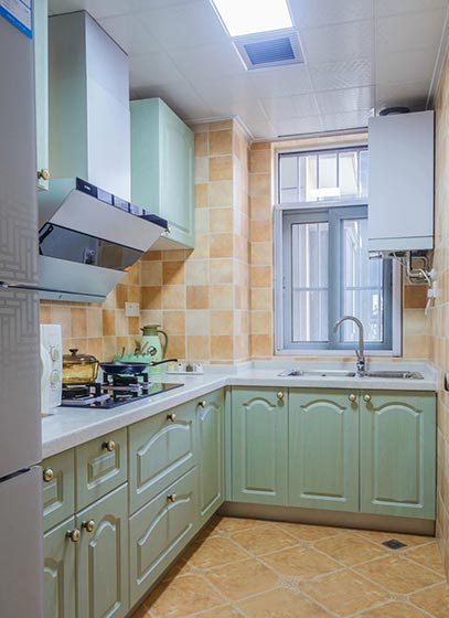 清新田园风厨房 薄荷绿橱柜设计