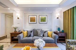 清新美式客厅 沙发照片墙欣赏