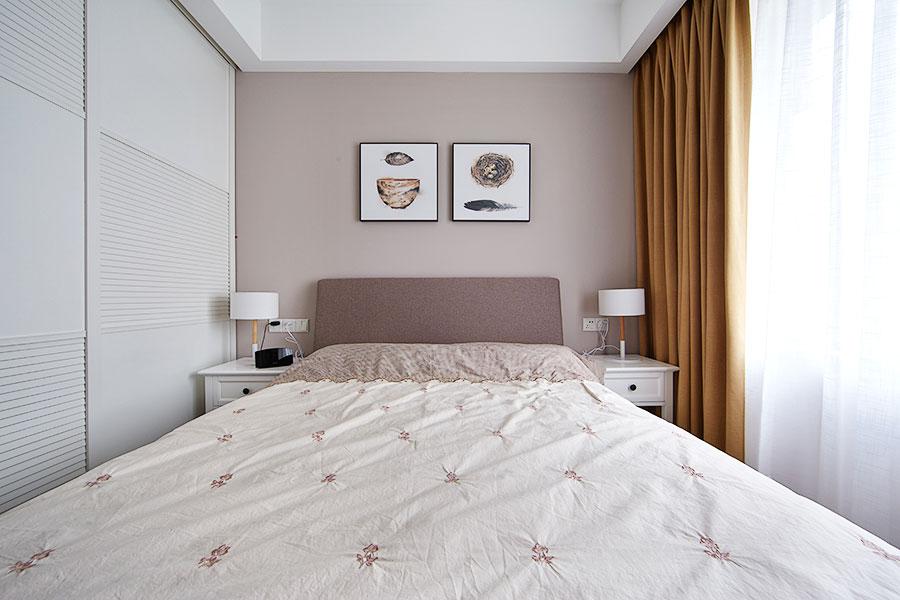 优雅裸色系简约风卧室效果图
