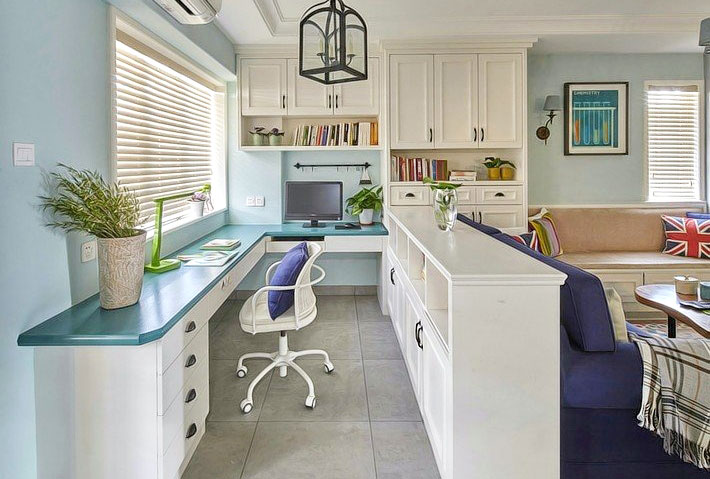 浅蓝色美式家居 开放式书房设计