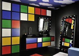 彩色浴室装修装饰效果图