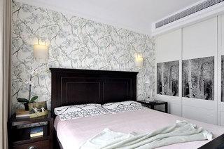 89平美式风格公寓卧室壁纸效果图