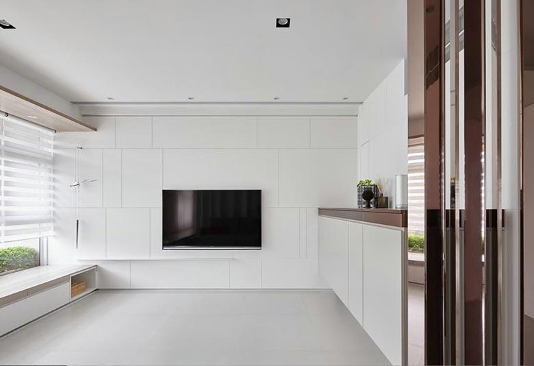 极简现代风 白色电视背景墙图片
