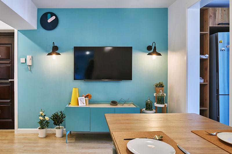 80平北欧风格二居电视背景墙装修图片