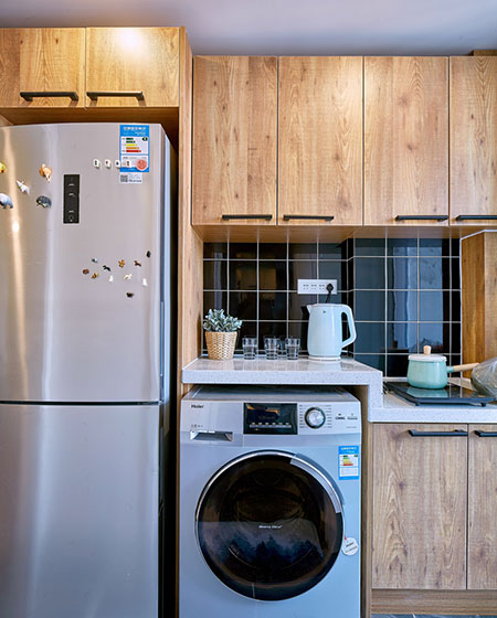 80平北欧风格二居木质橱柜图片