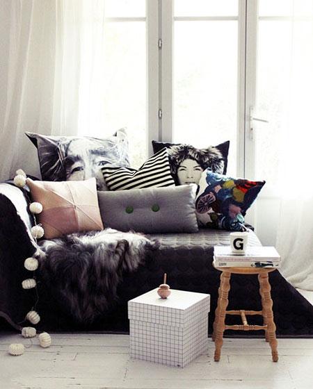 客厅沙发毛毯效果图