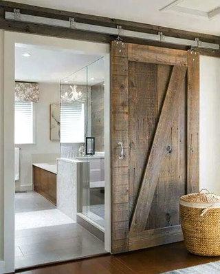 卫生间装修图木质谷仓门图片