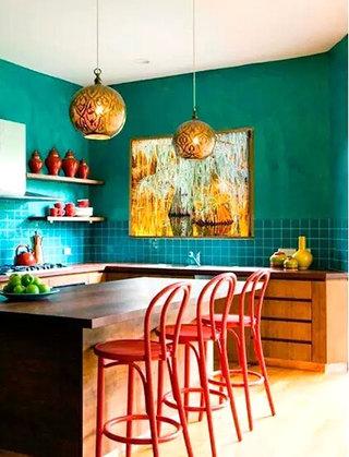 厨房效果图绿色背景墙装修