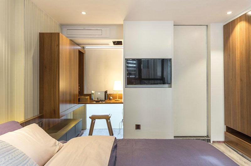 小户型跃层装修卧室电视墙设计