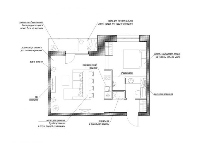 43平米单身公寓平面图