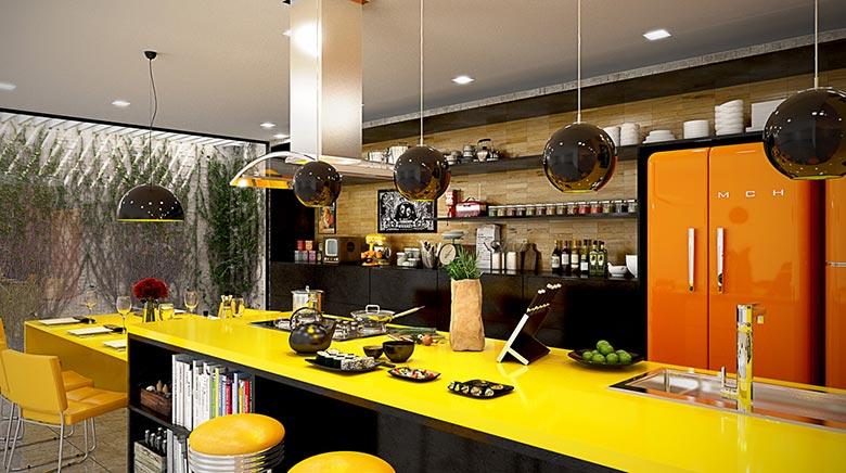 亮黄色厨房设计图