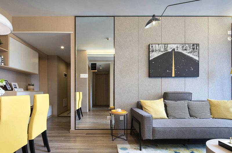 79平样板房装修沙发背景墙装修