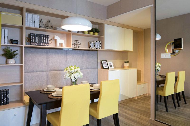 79平样板房装修餐厅置物架图片