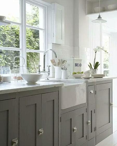 简约灰色整体厨房效果图