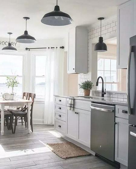 开放式厨房灰色橱柜图