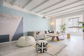 125平北欧四居装修客厅效果图