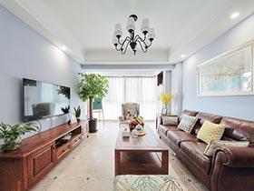 浅蓝色的梦幻空间 简约美式三居室效果图