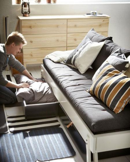 小户型单身公寓沙发床图片