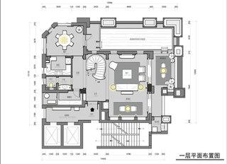 美式风格别墅装修一层平面图
