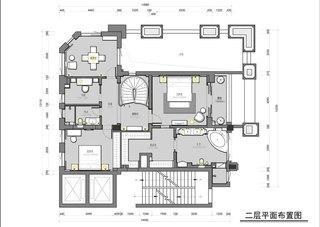 美式风格别墅装修二层平面图