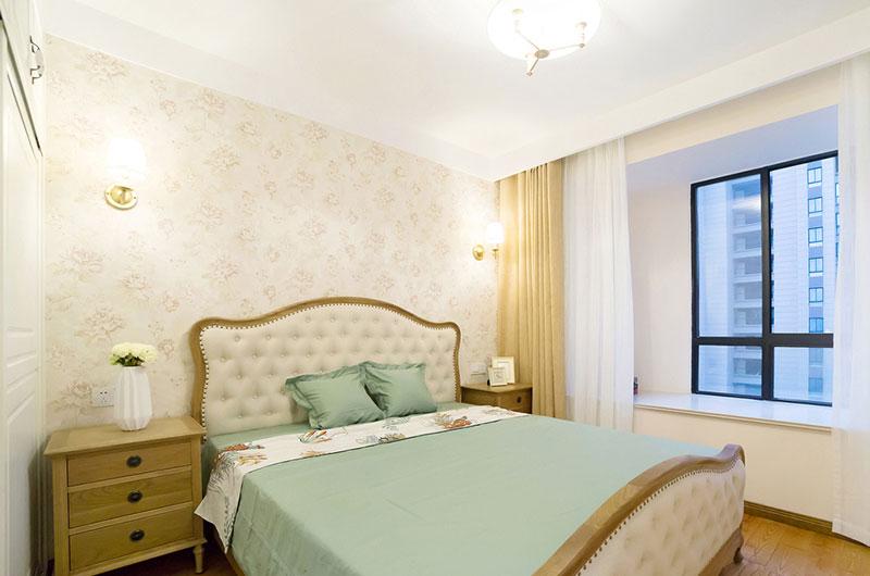 115平美式风格三居卧室背景墙