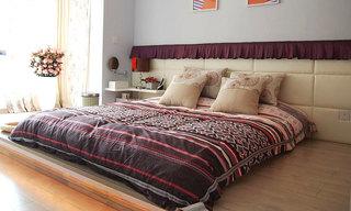 卧室木质地台床装修装潢图