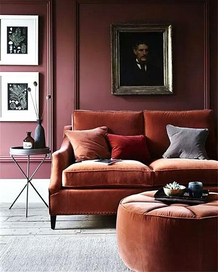 客厅丝绒沙发效果图装修