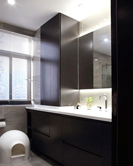 现代简约三居室装修卫生间洗手台设计