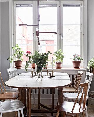 70平北欧风格公寓折叠餐桌图片