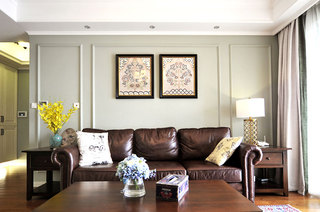 140平美式三居室客厅效果图