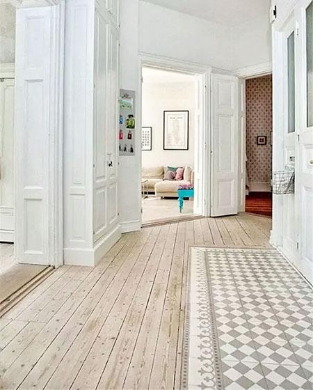 瓷砖木质混搭装修过道地板设计