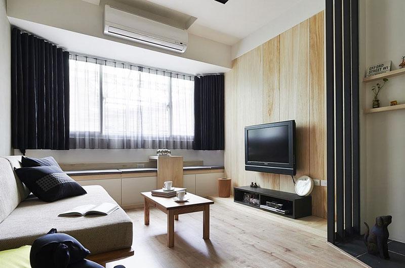 60平老公房装修木质电视背景墙