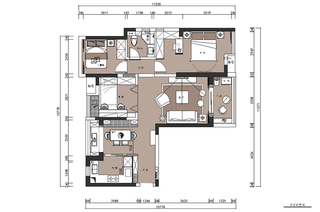 93平美式三居室平面设计图