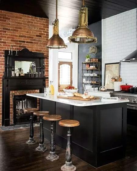 工业风格开放式厨房吧台装修