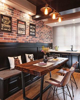 110平混搭风格婚房装修木质餐桌图片