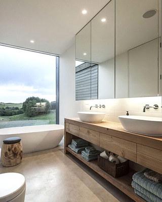 别墅卫生间装修木质洗手台设计图