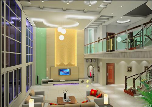 欧式楼中楼客厅装修效果图 50平小户型跃层式装修设计图片