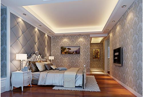 色彩以白色为主,床头背景墙用的是灰色大花墙纸,和整个卧室非常搭配